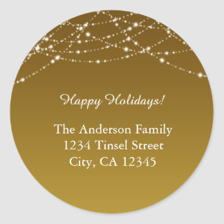 Golden Gold Glitter Holiday Wedding Address Labels