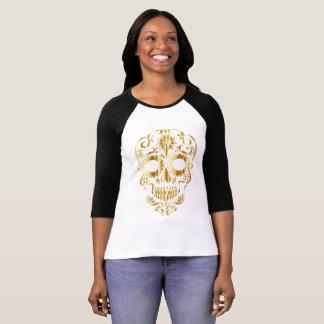 Golden Gothic Sugarskull Swirl template T-Shirt