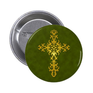 Golden Green Tribal Gothic Cross Buttons