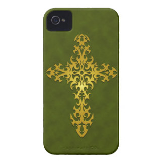 Golden Green Tribal Gothic Cross iPhone 4 Case-Mate Cases