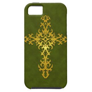 Golden Green Tribal Gothic Cross iPhone 5 Cases