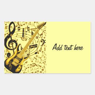 Golden Guitar_ Rectangular Sticker