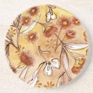 Golden gum flowers sandstone coaster
