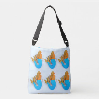 golden hair mermaids sitting crossbody bag