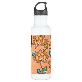 Golden Hand drawn decorative floral batik pattern 710 Ml Water Bottle