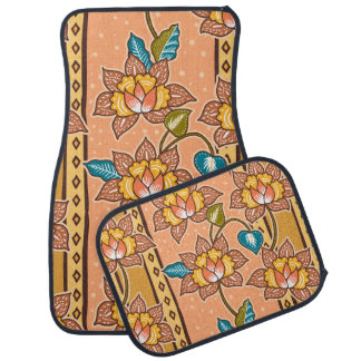 Golden Hand drawn decorative floral batik pattern Car Mat