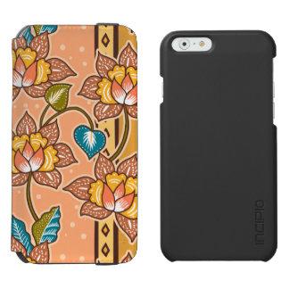 Golden Hand drawn decorative floral batik pattern Incipio Watson™ iPhone 6 Wallet Case