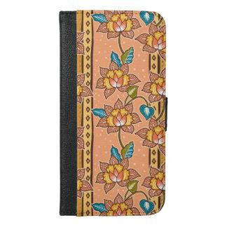 Golden Hand drawn decorative floral batik pattern iPhone 6/6s Plus Wallet Case