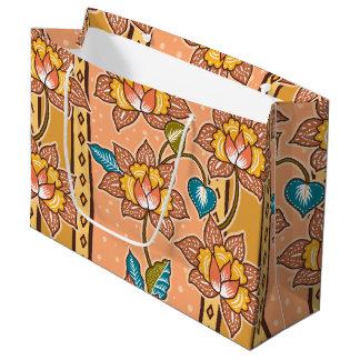 Golden Hand drawn decorative floral batik pattern Large Gift Bag