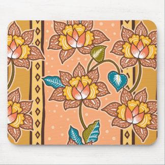 Golden Hand drawn decorative floral batik pattern Mouse Pad
