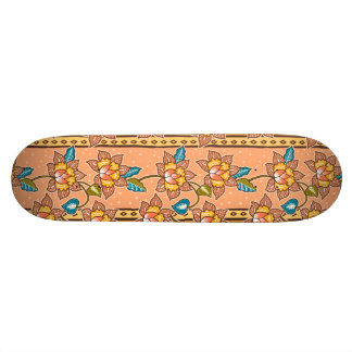 Golden Hand drawn decorative floral batik pattern Skate Board
