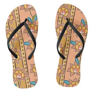 Golden Hand drawn decorative floral batik pattern Thongs
