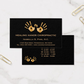 Golden Hand Prints Office Hours Chiropractor Business Card