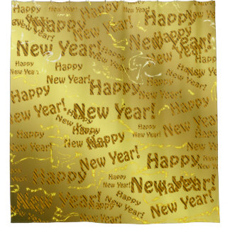 golden happy new years shower curtain