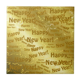 golden happy new years text small square tile