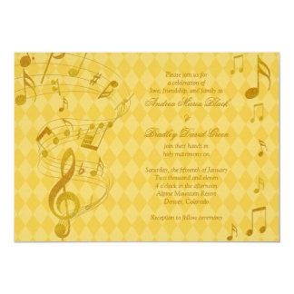 Golden Harlequin Music Notes Wedding Invitation
