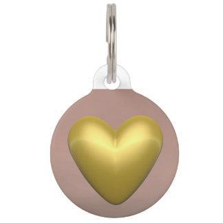 Golden heart - 3D render Pet ID Tag