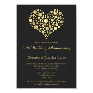Golden Heart 50th Wedding Anniversary Gold Invite
