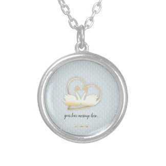 Golden Heart Swans, Gentle Love Silver Plated Necklace