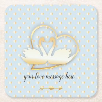 Golden Heart Swans, Gentle Love Square Paper Coaster