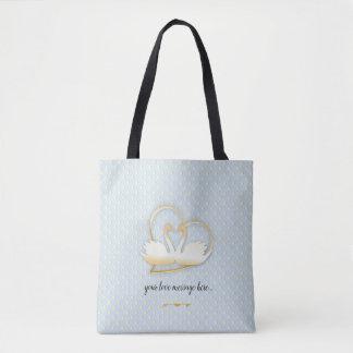 Golden Heart Swans, Gentle Love Tote Bag