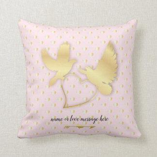 Golden Heart Swans, Golden Doves Cushion