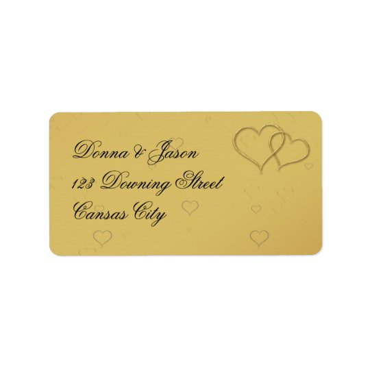 Golden Hearts - Address Label