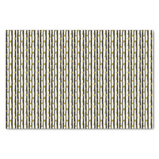 Golden Hearts And Black Stripes Tissue Paper
