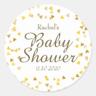Golden Hearts Baby Shower Favor Round Sticker
