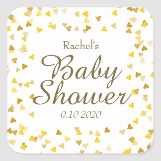 Golden Hearts Baby Shower Favor Square Sticker