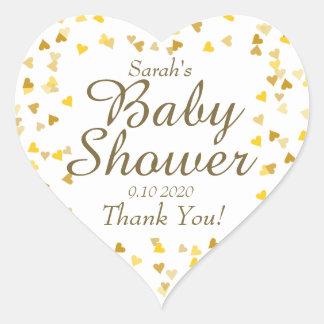 Golden Hearts Baby Shower Favour Heart Sticker