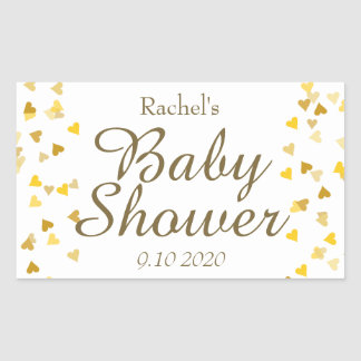 Golden Hearts Baby Shower Favour Rectangular Sticker