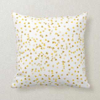 Golden Hearts Confetti Throw Pillow