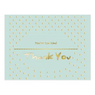 Golden Hearts Mint Blue Thank You Postcard