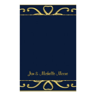 Golden Hearts On Blue 50th Wedding Anniversary Customized Stationery
