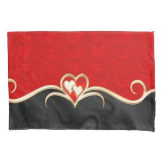 Golden hearts pillowcase