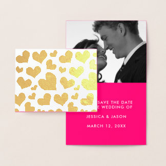 Golden Hearts Save The Date Photo Template