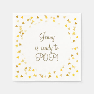 Golden Hearts She's Ready to Pop Baby Shower Disposable Napkin