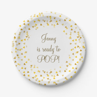 Golden Hearts She's Ready to Pop Baby Shower Favor 7 Inch Paper Plate