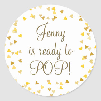 Golden Hearts She's Ready to Pop Baby Shower Favor Round Sticker