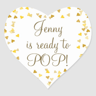Golden Hearts She's Ready to Pop Baby Shower Heart Sticker