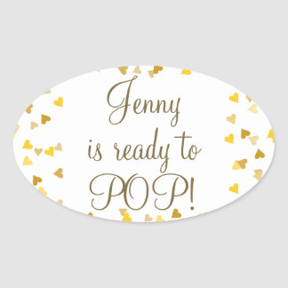 Golden Hearts She's Ready to Pop Baby Shower Oval Sticker