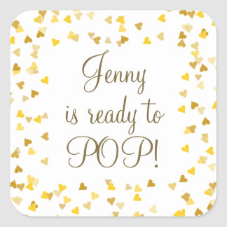 Golden Hearts She's Ready to Pop Baby Shower Square Sticker