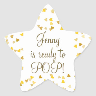 Golden Hearts She's Ready to Pop Baby Shower Star Sticker