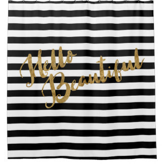 Golden Hello Beautiful Stripes Shower Curtain