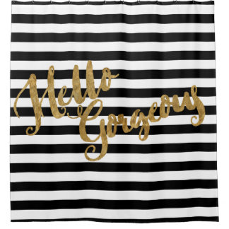 Golden Hello Gorgeous Stripes Shower Curtain