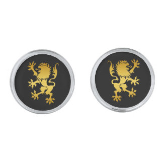 Golden Heraldic Lion Cufflinks Silver Finish Cuff Links