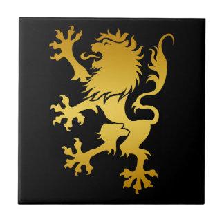 Golden Heraldic Lion Tile