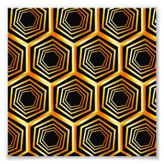 Golden hexagonal optical illusion photographic print