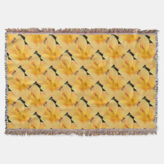 Golden Hibiscus Throw Blanket